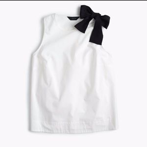 J. Crew Tops - JCrew White Tank with black Bow on Shoulder SIze4